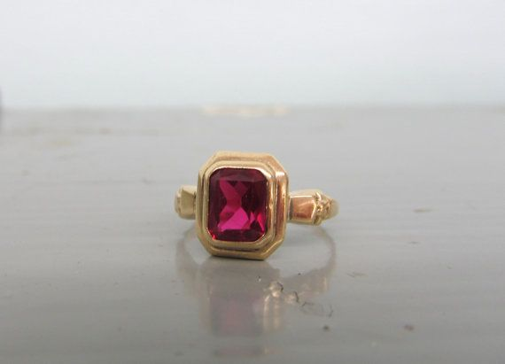 Pin By Ferguson S Fine Jewelry On Etsy Marketplace Antique Ruby Ring Art Deco Ring Black Jewelry