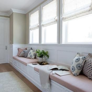Long Bedroom Window Seat With Blush Pink Linen Cushions Window Seat Kitchen Home Decor Bedroom Wainscoting Bedroom