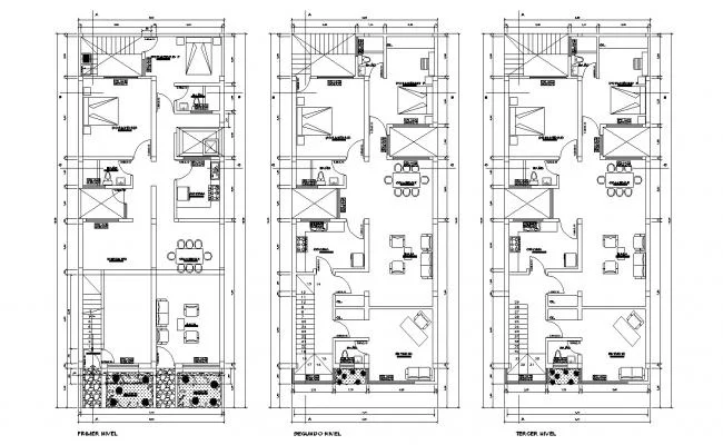 Floor Plan Of 3 Storey Residential Building 8 00mtr X 19 00mtr With Section In Dwg File Apartment Plans Floor Plans How To Plan