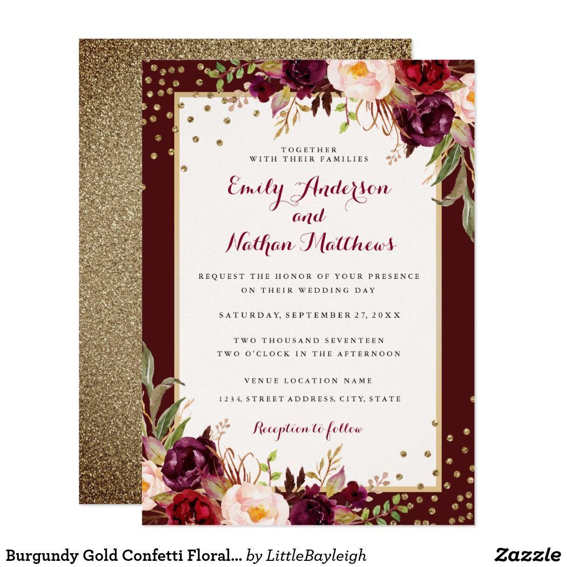 Maroon and white wedding decor  Burgundy Gold Confetti Floral Wedding Invitation  Wedding
