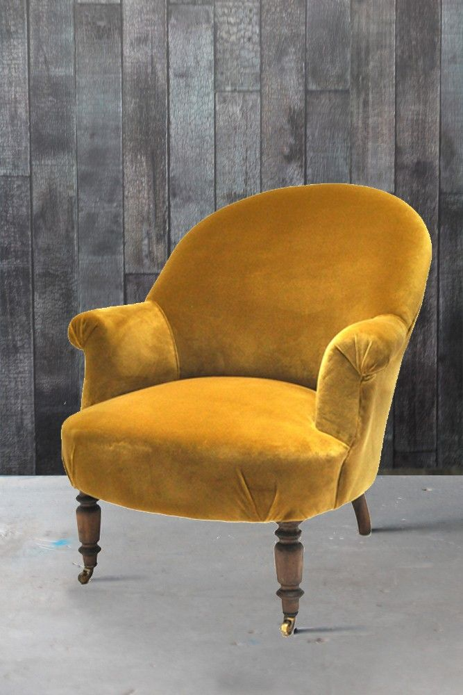 Original Vintage Victorian Tub Chair In Velvet Olive By Ines Cole ...
