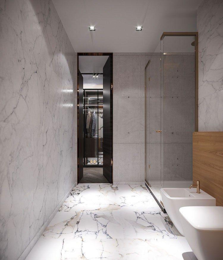 salle de bain marbre blanc cabine douche moderne verre 浴室