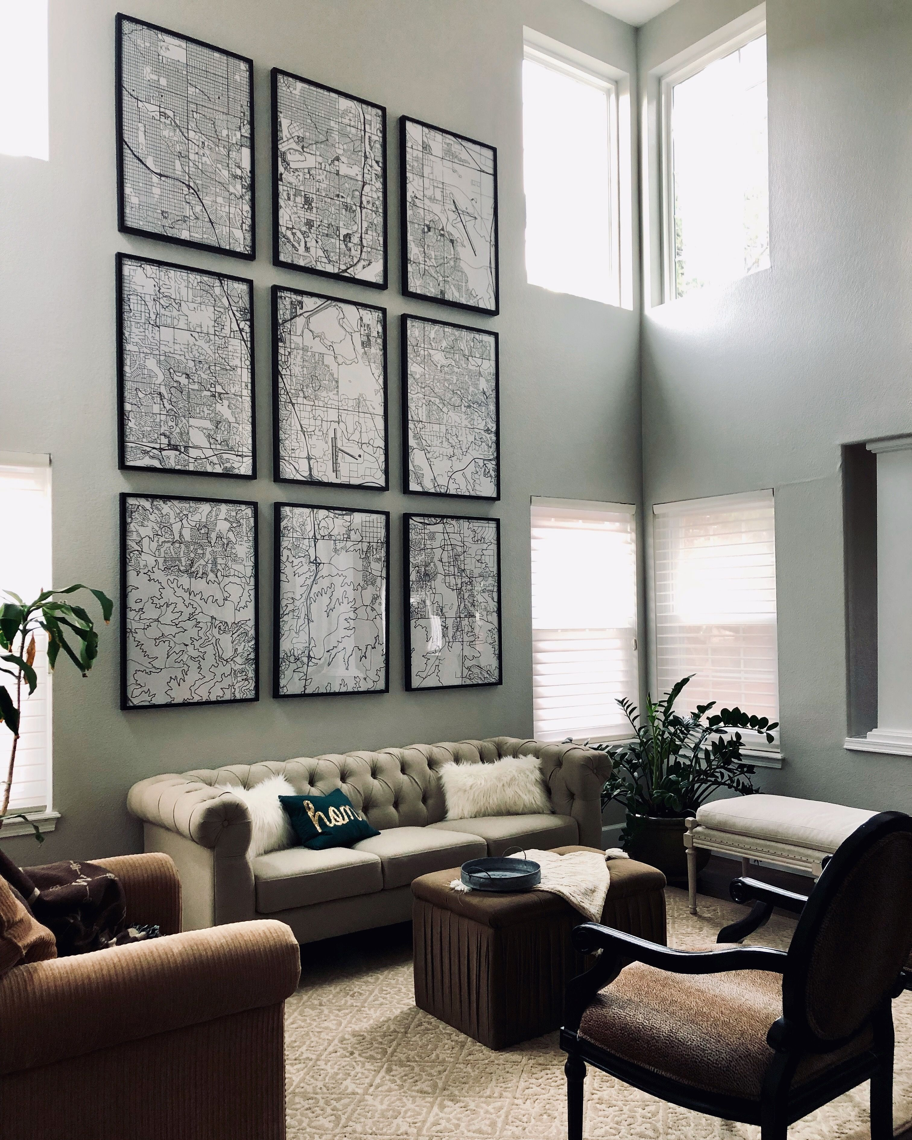 Not Sure What To Do With A Large Living Room Wall In A Room With High Ceilings In 2020 Large Wall Decor Living Room Tall Ceiling Living Room High Ceiling Living Room
