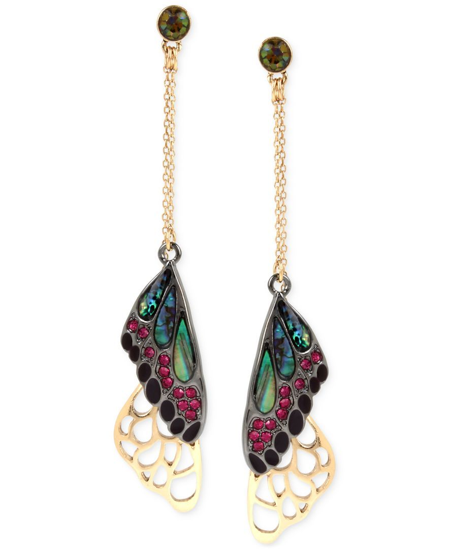 The beauty of iridescent stone and pave butterfly wings is echoed in the scallop edge of these incredibly detailed drop earrings designed by Betsey Johnson in gold-tone and hematite-tone mixed metal.