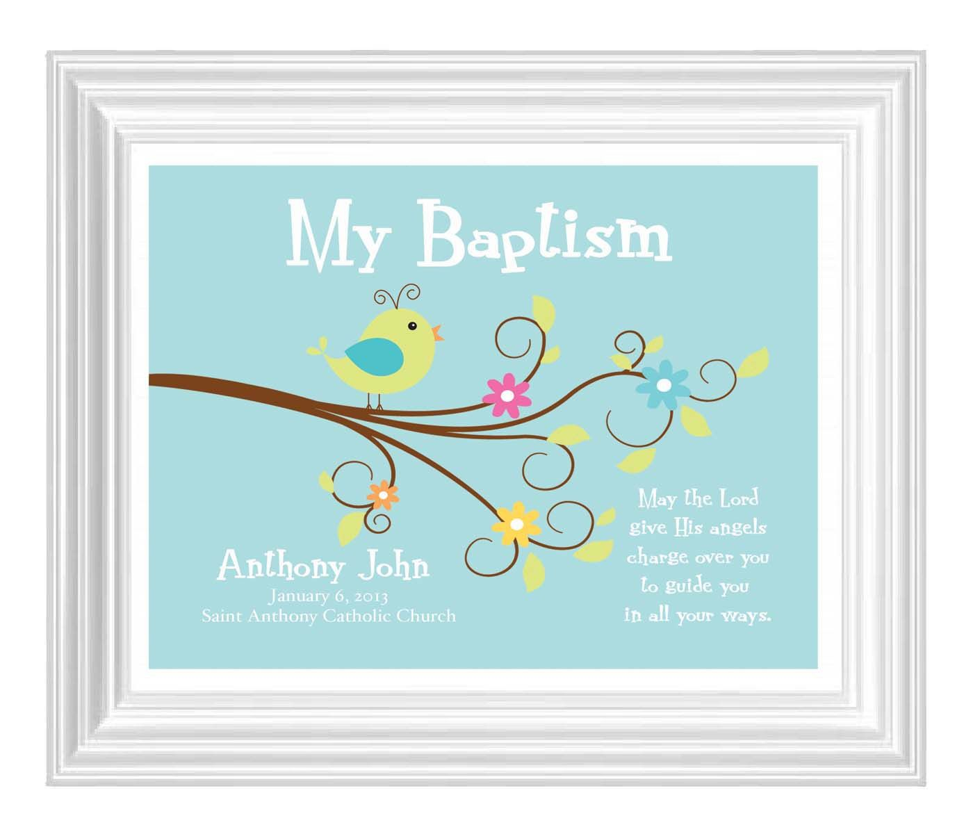 Christening gift baptism gift baby boy personalized print bird christening gift baptism gift baby boy personalized print bird name wall art for negle Image collections