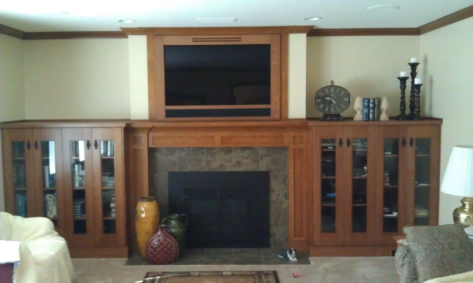 stone ridge cabinets craftsman oak fireplace mantel and rh pinterest com