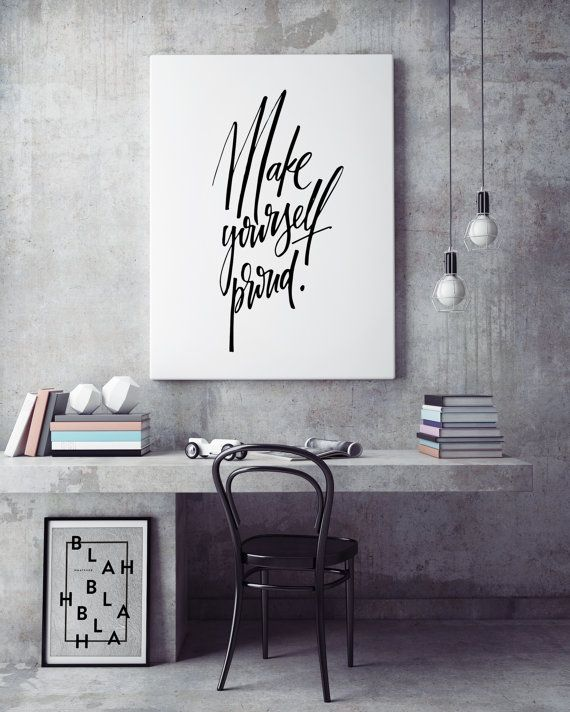 Make Yourself Proud Motivational Inspirational Fitspo Handlettered  Scandinavian Black White Quote Poster Prints Printable Wall Decor