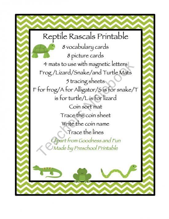 Magnetic Letters Clipart : magnetic, letters, clipart, Reptile, Rascals, Printable, Product, Preschool-Printable, TeachersNotebook.com, Preschool, Printables,, Preschool,, Vocabulary, Cards