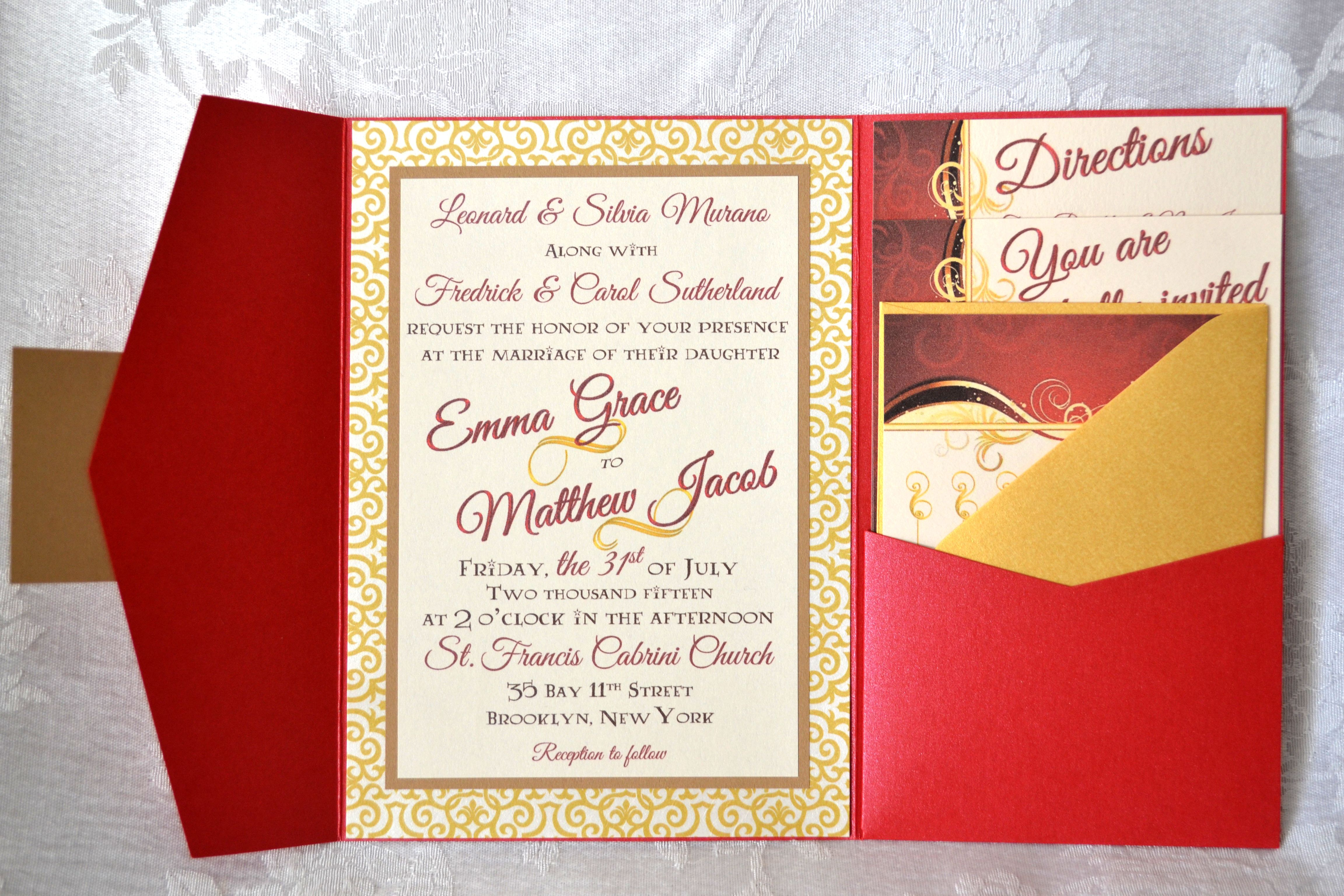 This wonderful couple are huge Harry Potter fans, and wanted a wedding invitation that reflected their love for the magical series. Being true Potterheads, they wanted a Gryffindor-styled invitation, without it seeming juvenile. A bright, metallic red pocket with brown and gold trim and accents capture the magic perfectly. Be sure to check out our Facebook at facebook.com/aninvitationforyou and follow us on Instagram @An_Invitation_For_You !