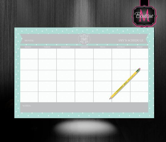 Monogrammed Desk Calendar - Personalized Desk Calendar - Planner - Custom Calendar - Monthly Desk Pad Calendar on Etsy, $33.99