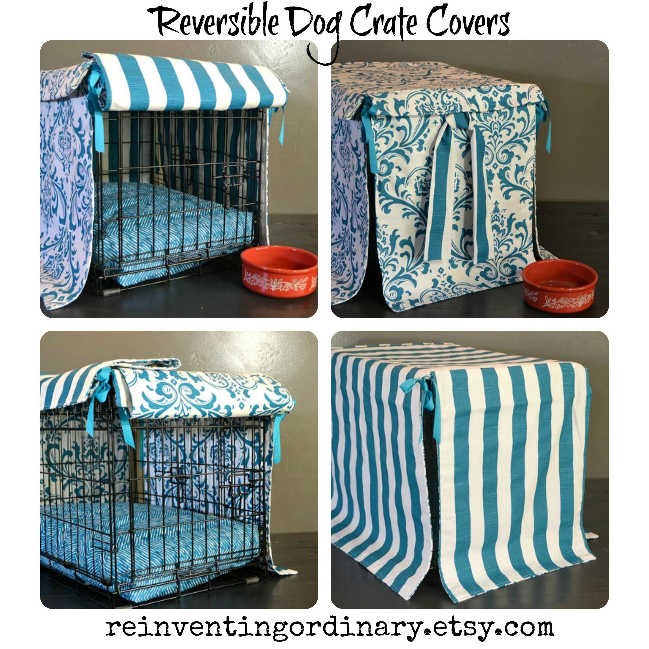 Love these new reversible dog crate covers. www.reinventingordinary.com