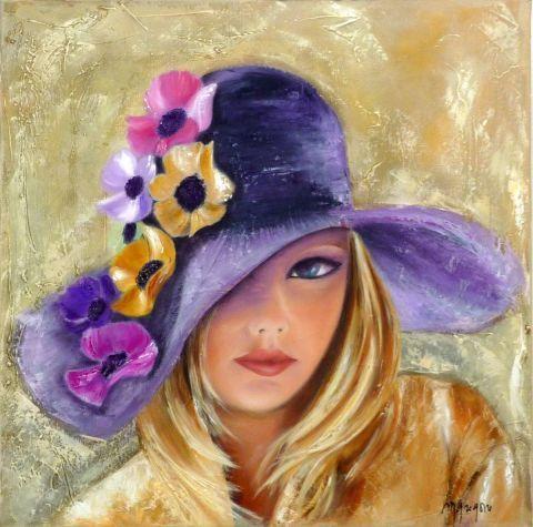 FLEURS ET CHAPEAU - Peinture - MARTINE GREGOIRE Sergi Pinterest - pose papier a peindre