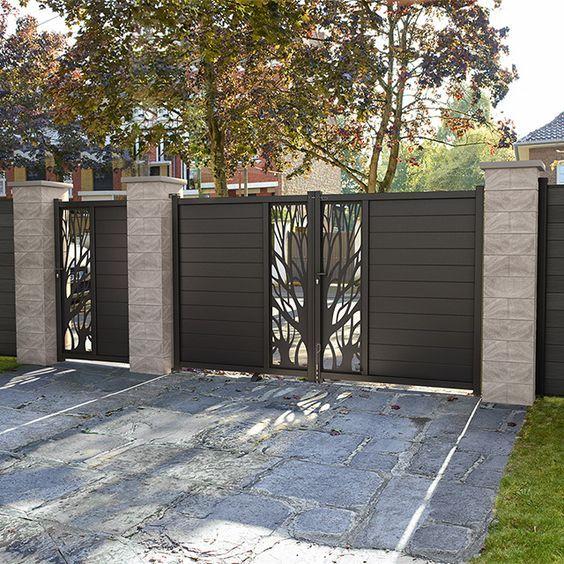 Portail En Aluminium Idaho Noir Castorama House Gate Design Main Gate Design House Main Gates Design