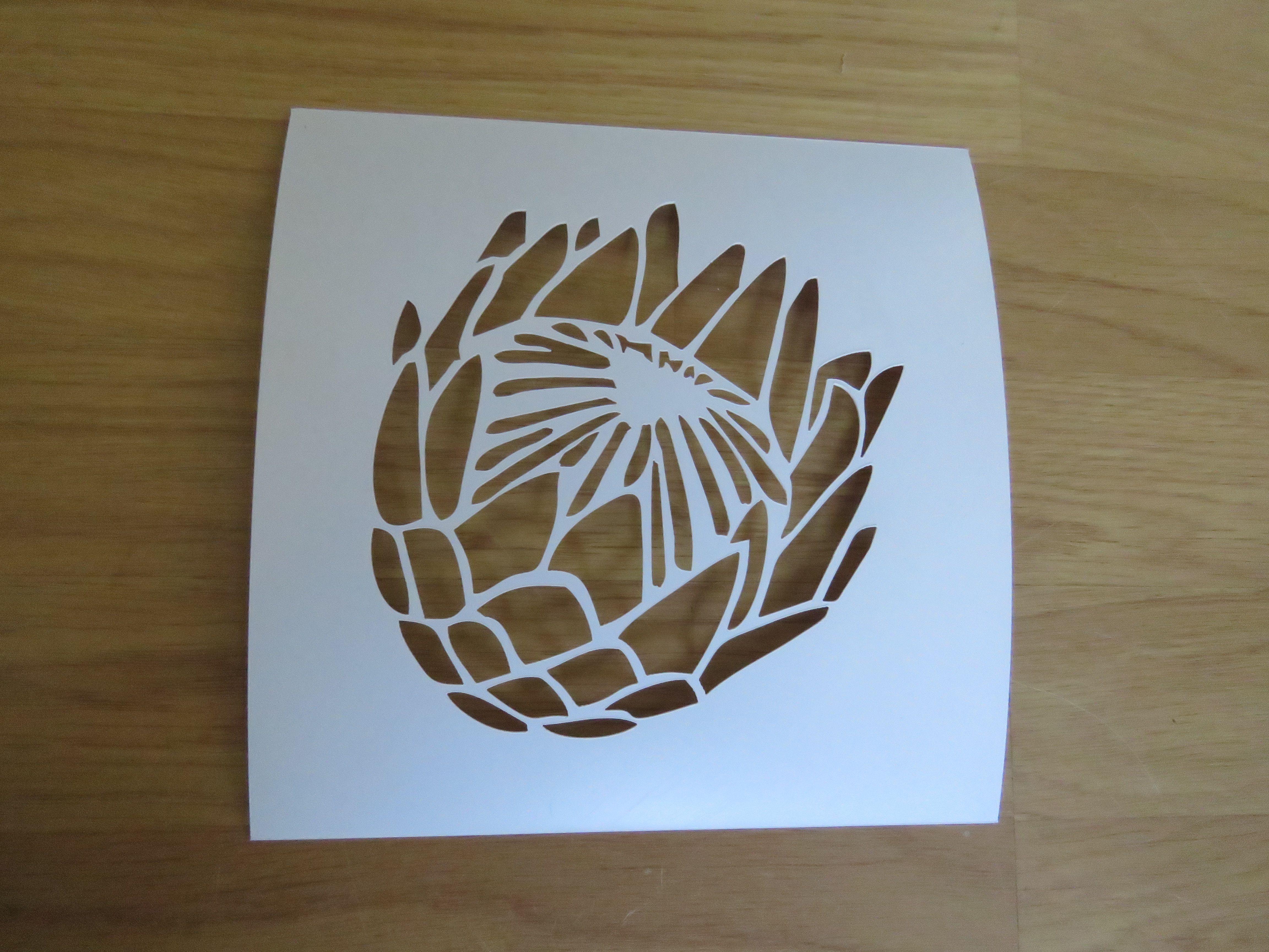 Stencils For Protea Liz03 Single Protea Stencil Ilanga Trading Protea Art Flower Stencil Stencils