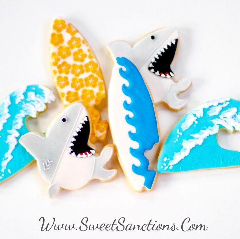 Half dz surf wave and shark cookie set living your