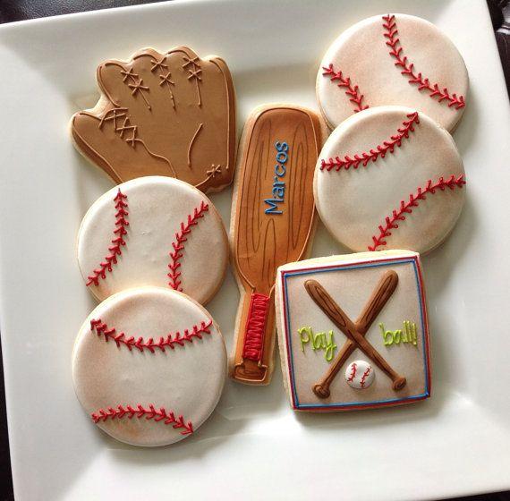 1 Dozen Baseball Sports Themed Cookies Por Natsweetscookies
