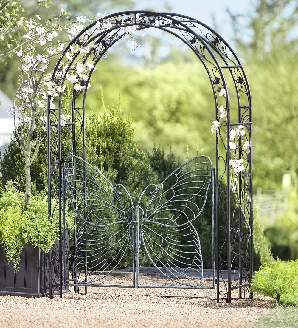 Incroyable Metal Garden Arbor With Butterfly Gate | Arbors