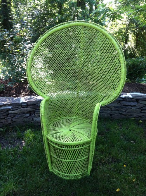 vintage fan peacock wicker chair painted green by 4pinkpigs rh pinterest com