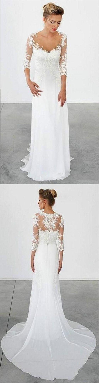 3 4 sleeve lace wedding dress  New Arrival chiffon  long sleeve lace simple cheap beach wedding