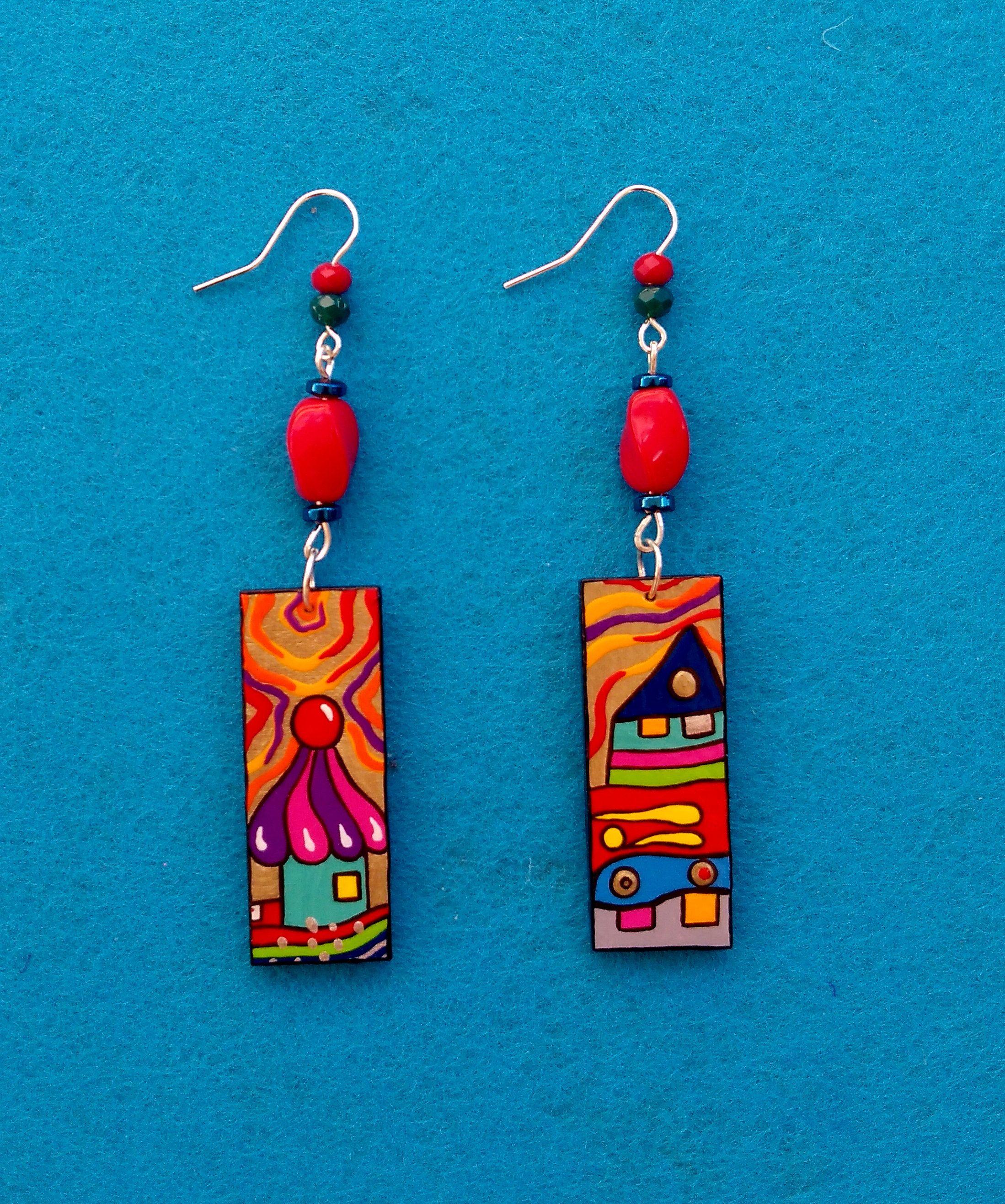 Earrings with image of Hunderwasser artistic earrings