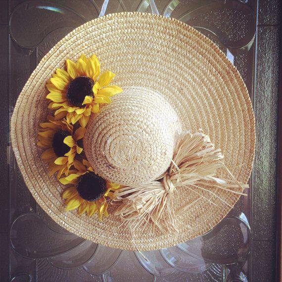Photo of Articoli simili a girasole e corona di cappello da sole con fiocco in rafia su Etsy