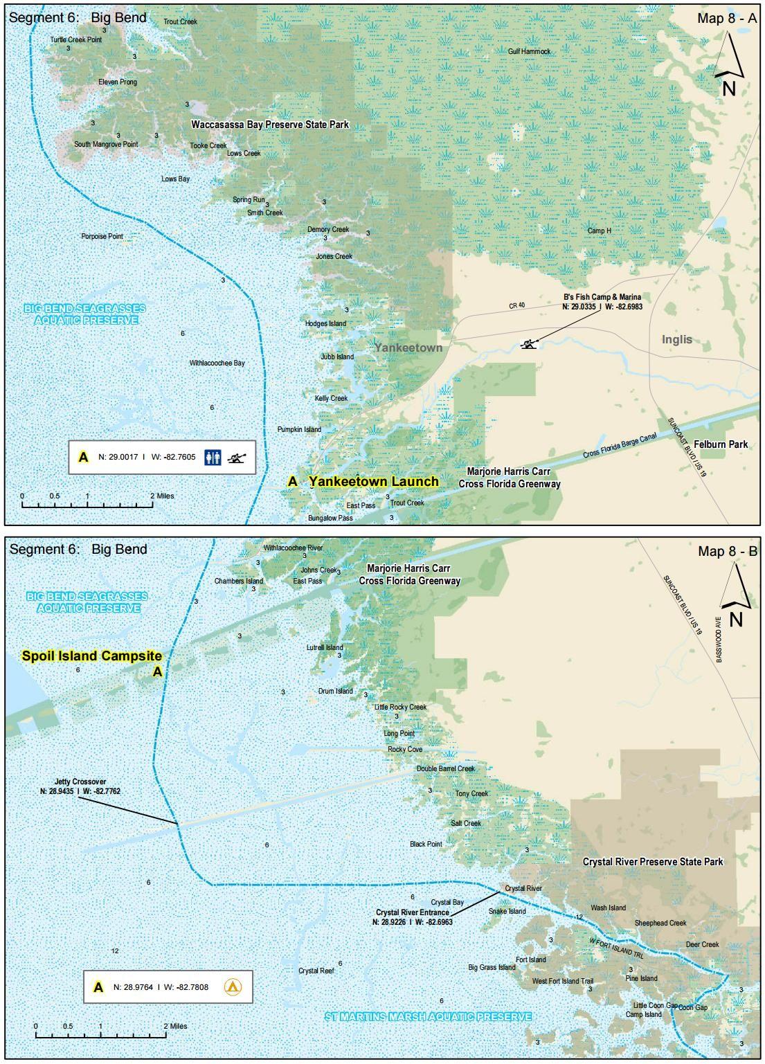 Map Of Crystal River Florida.Waccasassa Bay To Crystal River Florida Circumnavigational