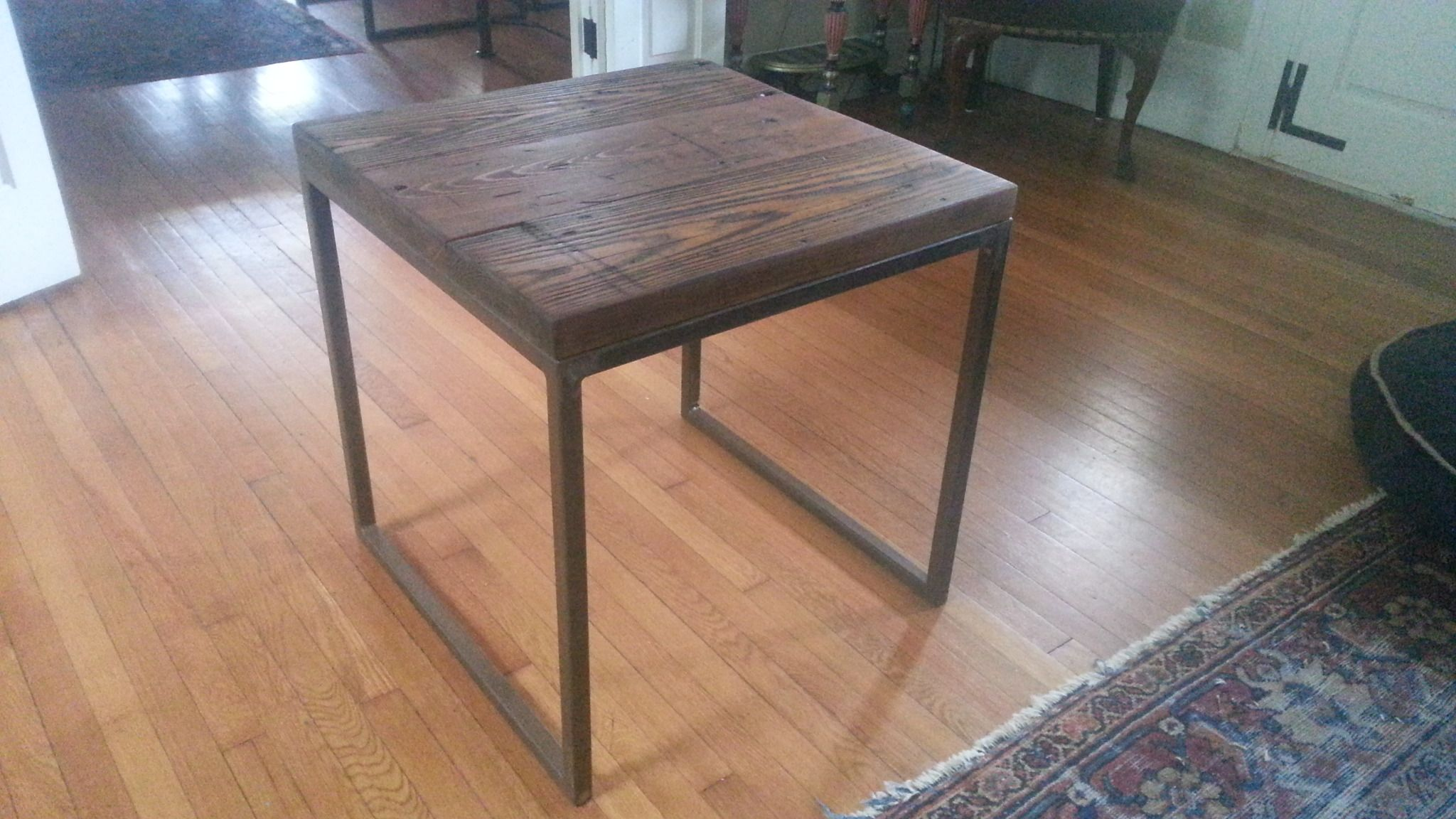 Distressed oak side table with iron base industrial iron table distressed oak side table with iron base geotapseo Image collections