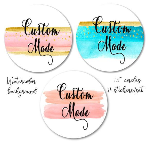 Watercolor stickers custom made stickers peach and gold stickers blue and gold peach and pink custom stickers 1 5 set of 24