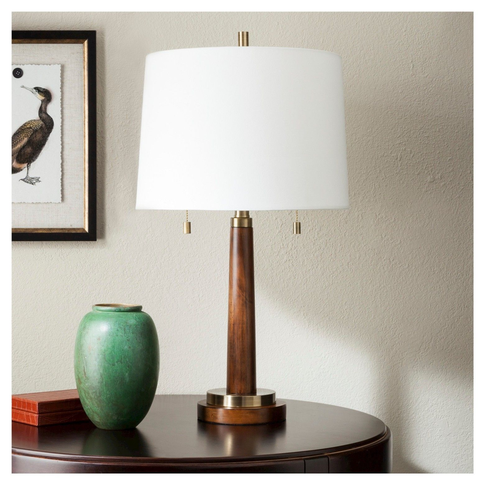 franklin table lamp wood with brass trim threshold brown white rh pinterest com