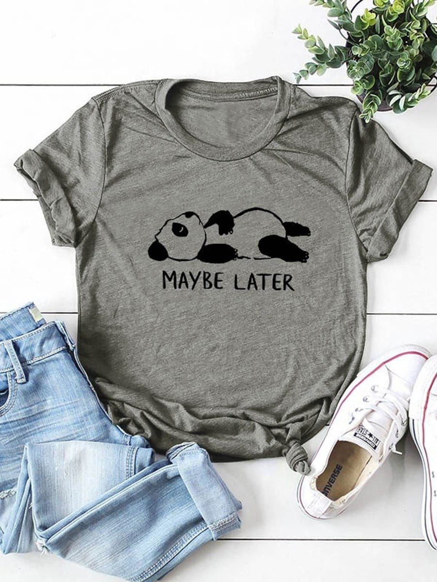 Casual Cartoon Regular Fit Round Neck Short Sleeve Pullovers Grey