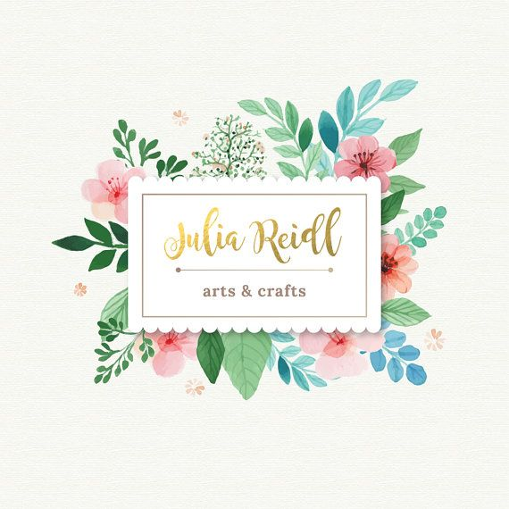 Watercolor&Floral Style Pre-made Logo Design by TinkStudio on Etsy