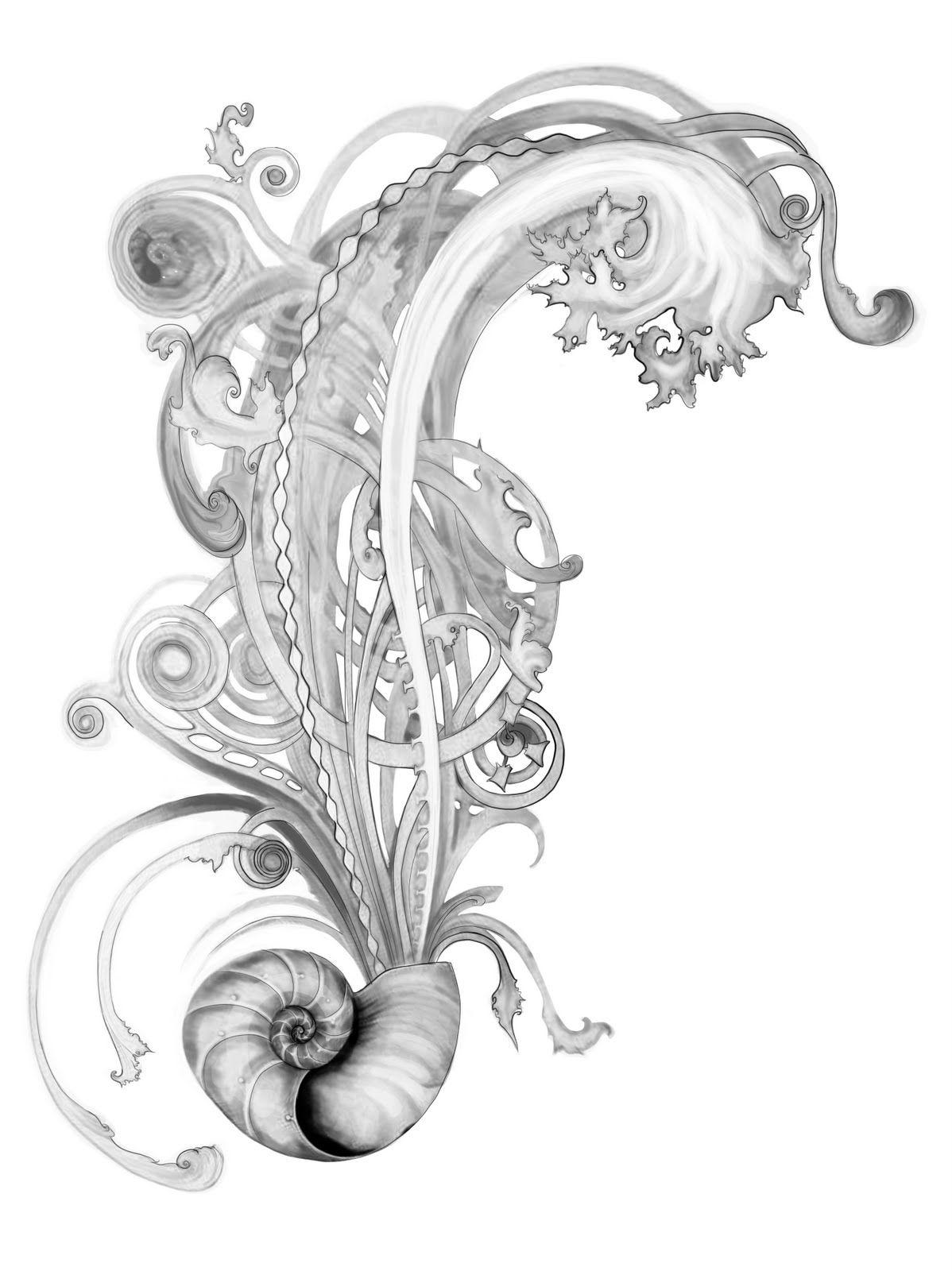 nautilus waves seaweed design ocean and pelican tattoo pinterest nautilus seaweed and. Black Bedroom Furniture Sets. Home Design Ideas