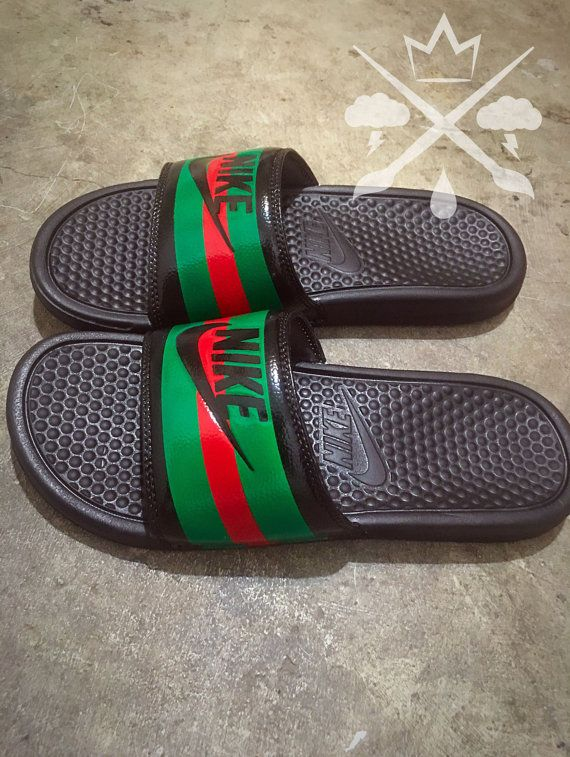 huge discount abfb2 1aee7 Nike Custom Gucci Red Green Pursuit 72 Benassi by DrippedCustomz