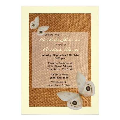 Cream Butterfly Burlap Bridal Shower Invitation