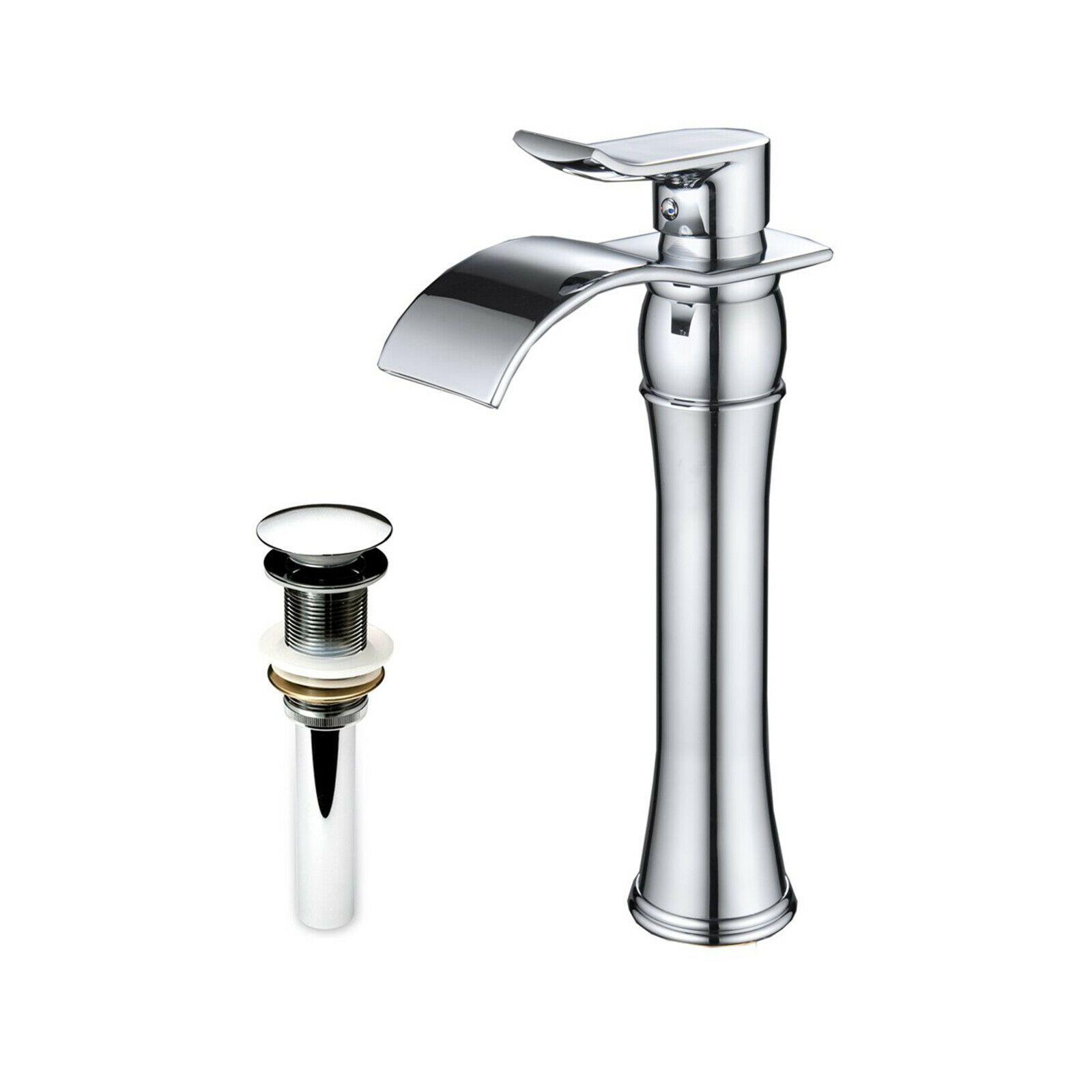 Commercial Waterfall Bathroom Sink Vessel Faucet Single Handle
