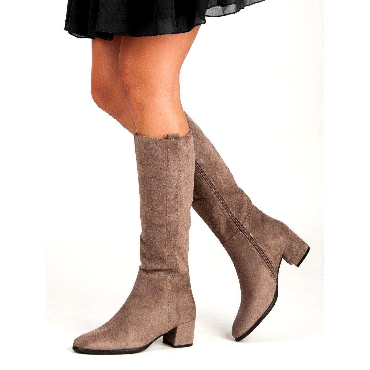 Filippo Bezowe Kozaki Na Obcasie Bezowy Boots Ankle Boot Shoes