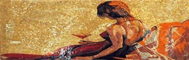 Woman In Red Stone Mosaic