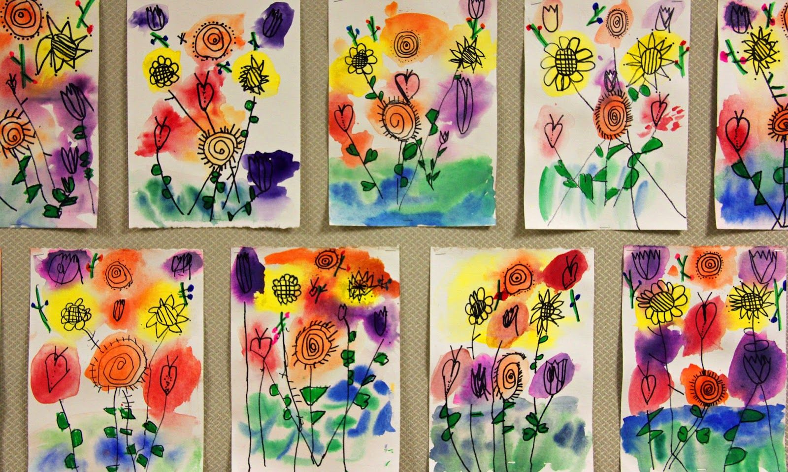 Watercolor Flowers Kindergarten Art Kindergarten Art