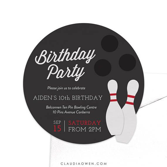 Bowling Birthday Party Invitation  Ten Pin Bowling Invite