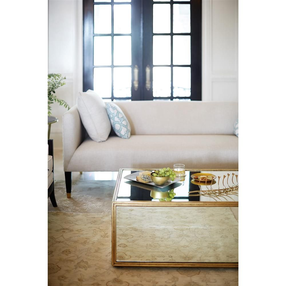 Crawford Mirrored Gold Regency Block Coffee Table Kathy Kuo Home