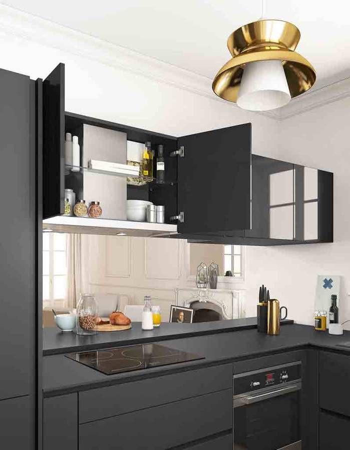 toutes nos astuces d co pour am nager une petite cuisine elle d coration cr dence miroirs. Black Bedroom Furniture Sets. Home Design Ideas