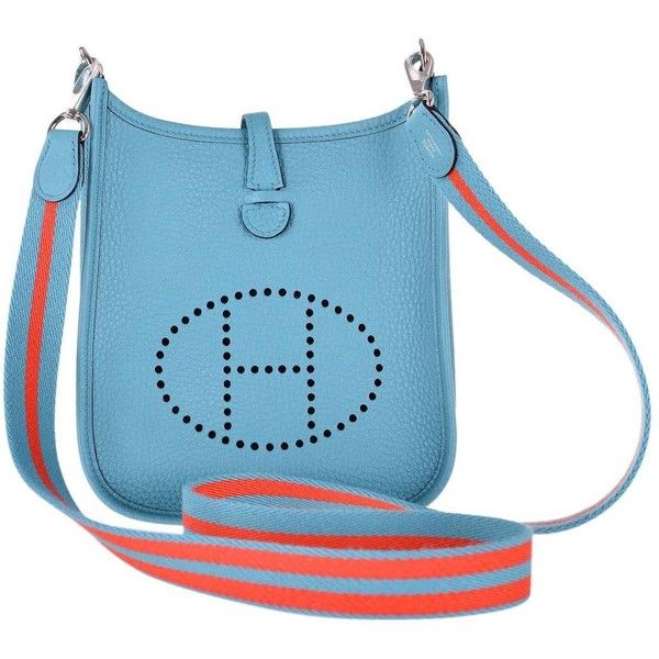 cfb708adb060 Preowned Hermes Evelyne Tpm Mini Blue Saint Claire With Amazone Strap...  ( 3