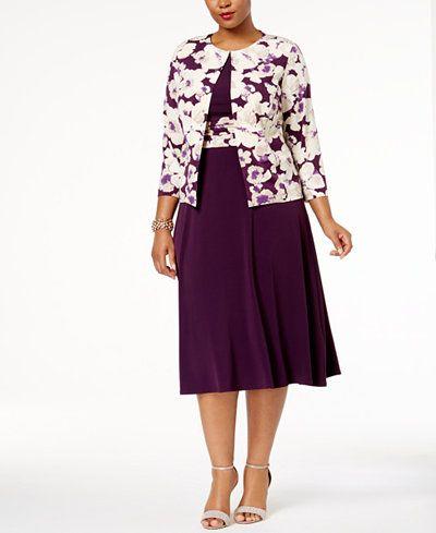 1190b70c32bf6 Jessica Howard Plus Size Empire-Waist Dress   Printed Jacket ...