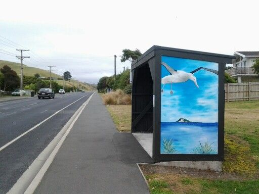 painted bus stop at ocean view south of dunedin painted bus stops rh pinterest com