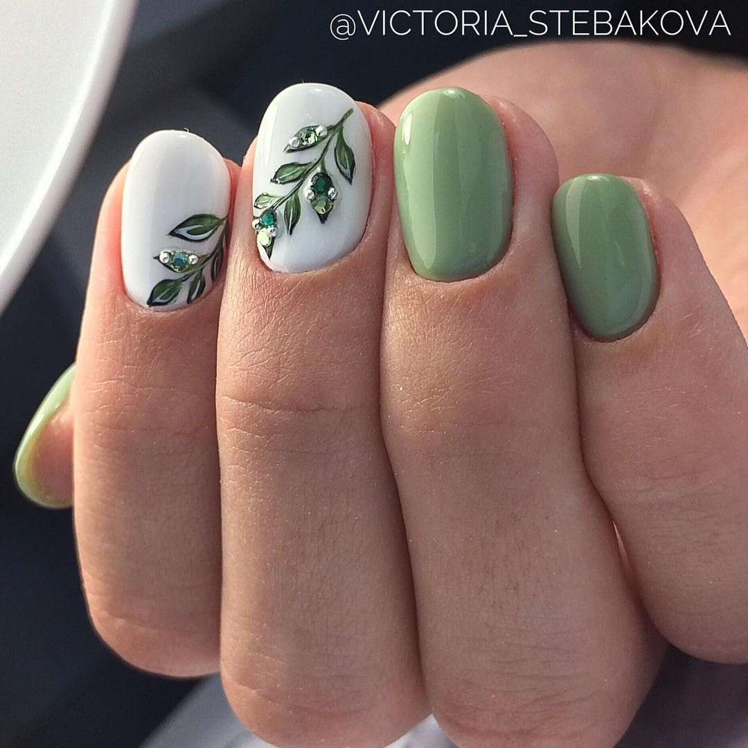 Green And White Nails Peonies Pinterest White Nails Makeup