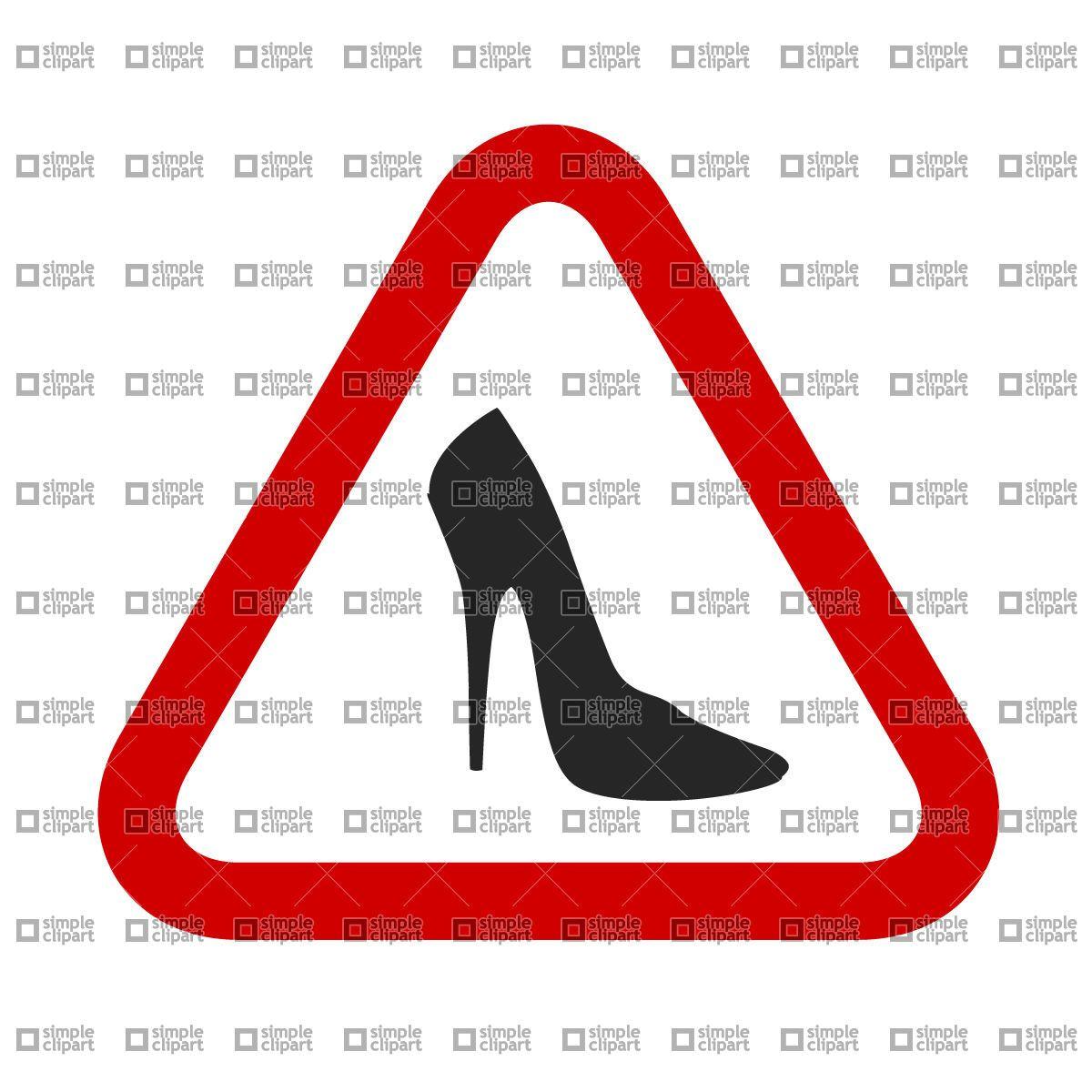 Caution, woman! High Heels Shoes sign, download free vector clipart (EPS)