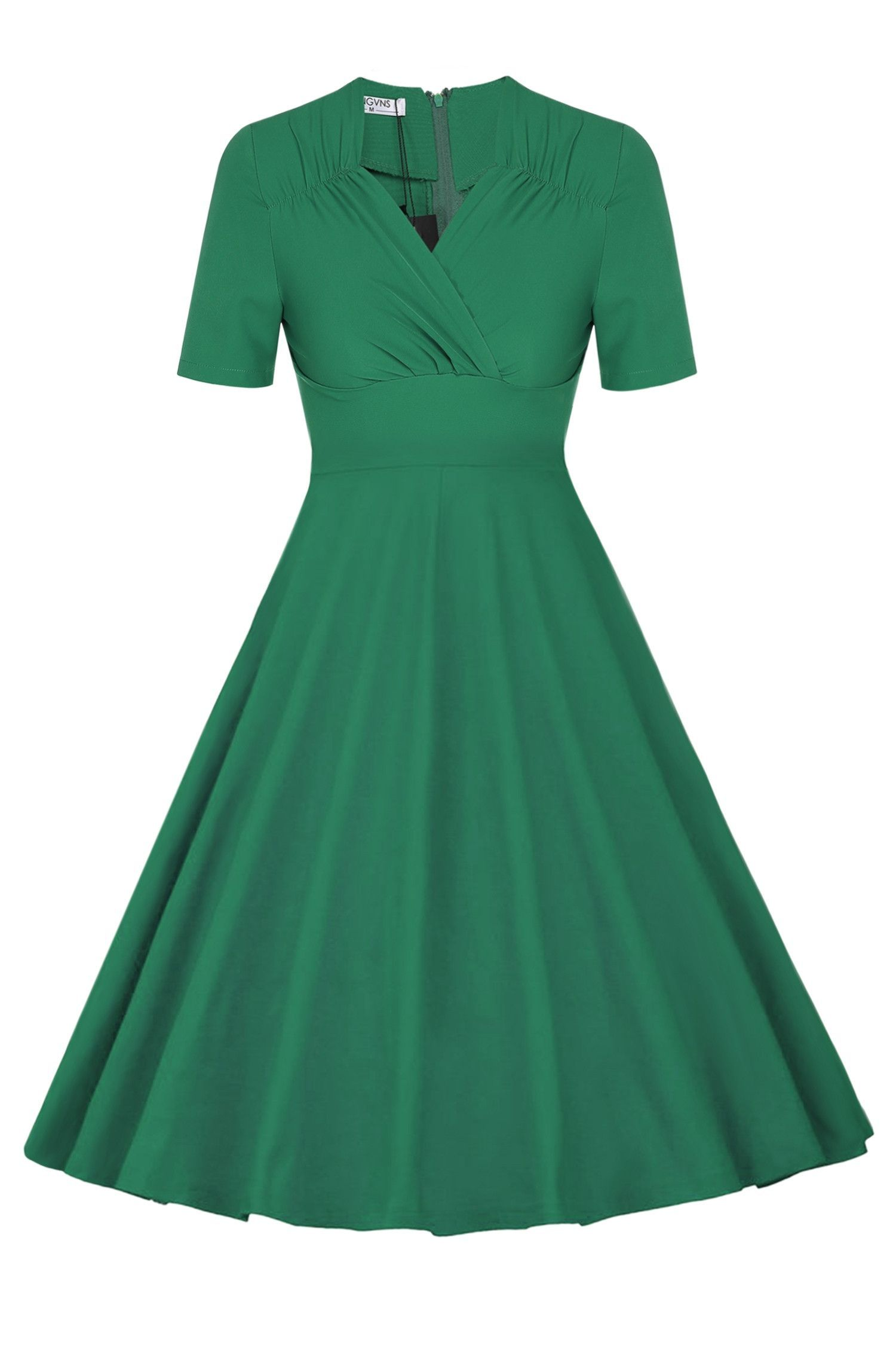Women Casual Vintage Style High Waist Solid Pleated Work Dresses