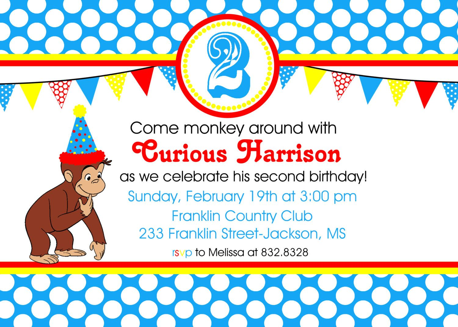 Curious George Inspired Printable Invitation by LollipopInk, $12.00 ...