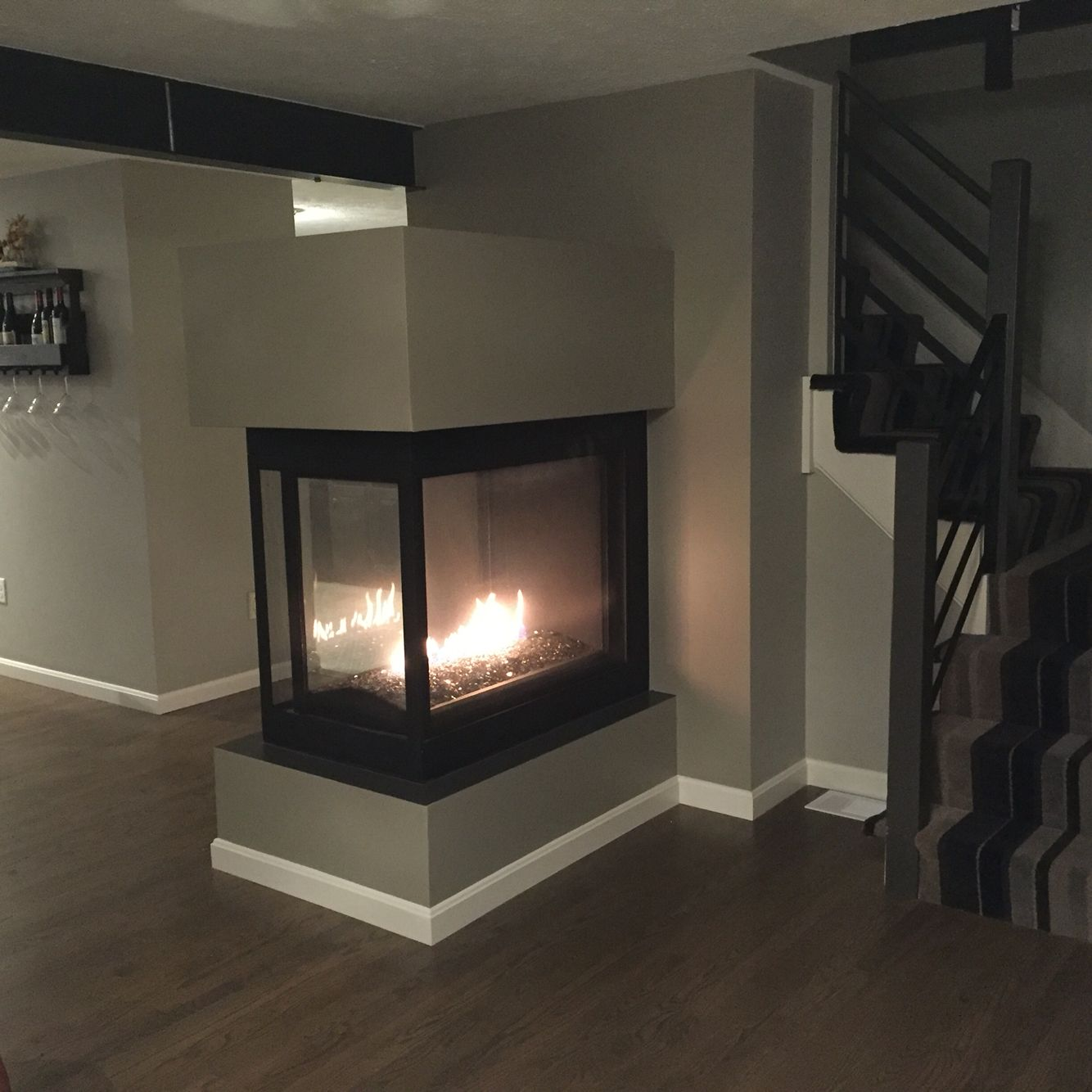 3 sided peninsula propane fireplace from napolean we re very happy rh pinterest com