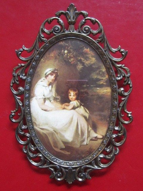 Vintage Victorian Picture Frame Ornate Bronze Filigree Oval Italy ...